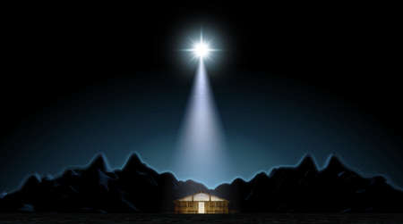 A depiction of the nativity scene of christs birth in bethlehem with the isolated stable being lit by a bright star - 3D render Stok Fotoğraf