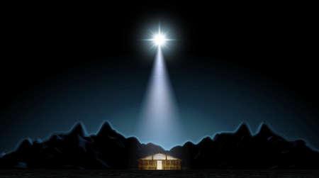 Una representación de la escena de la natividad del nacimiento de cristo en belén con el establo aislado iluminado por una estrella brillante - 3D render