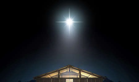 A depiction of the nativity scene of christs birth in bethlehem with the isolated stable being lit by a bright star - 3D render 스톡 콘텐츠
