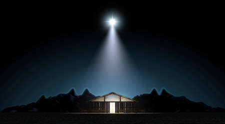 A depiction of the nativity scene of christs birth in bethlehem with the isolated stable being lit by a bright star - 3D render Imagens