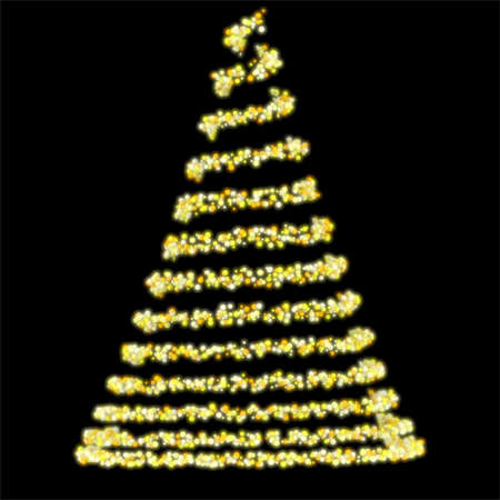 An abstrct spiral of spherical colorful lights making up the form of a traditional christmas tree on an isolated black background - 3D render