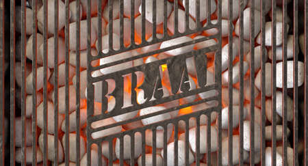 Burning hot coals and white ash in a barbecue stand covered by an iron grill with the word braai cut out of it - 3D render