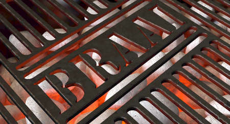 Burning hot coal and white ash in a barbecue stand covered by an iron grill with the word braai cut out of it - 3D render 스톡 콘텐츠