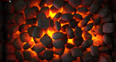 A direct top view of burning hot coal in a barbecue stand - 3D render Stock Photo