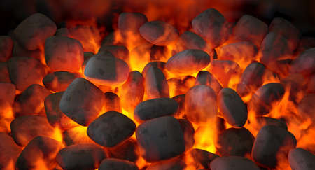 A direct top view of burning hot coal in a barbecue stand - 3D render 스톡 콘텐츠