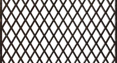 A regular diamond patterend metal barbecue grid on an isolated white studio background - 3D render