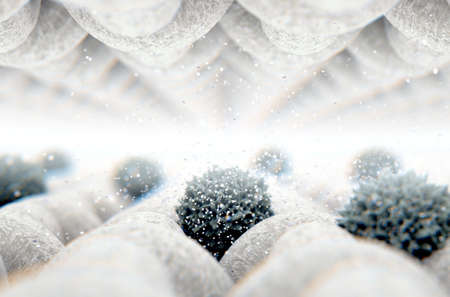 A microscopic close up view between layers of simple woven textile and a visible germ particle  - 3D render