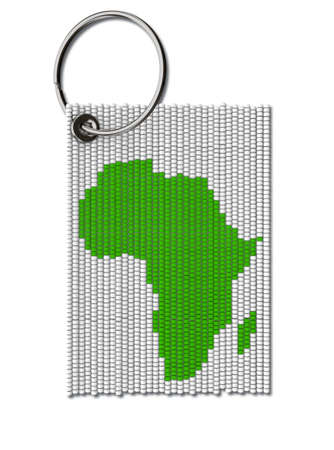 A traditional zulu beaded keyring depicting the shape of africa on an isolated white background - 3D render