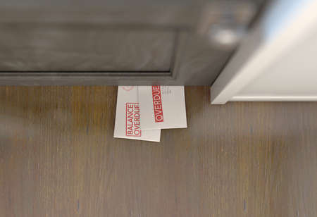 Two regular envelopes symbolizing bills and debt slipped on a house door - 3D render 写真素材