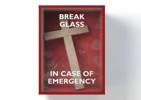 Una caja de emergencia roja que contiene un crucifijo cristiano con un vidrio rompible en caso de emergencia en la parte delantera sobre un fondo aislado - 3D Render Foto de archivo