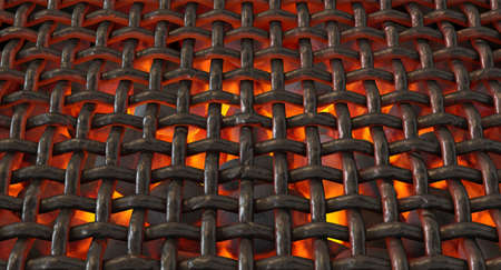 A direct top view of burning hot coal in a barbecue stand covered by a woven lattice iron grill - 3D render
