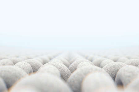 A microscopic close up view of a simple woven textile on a white background - 3D render