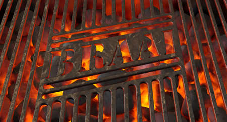 Burning hot coal in a barbecue stand covered by an iron grill with the word braai cut out of it - 3D render Stock Photo