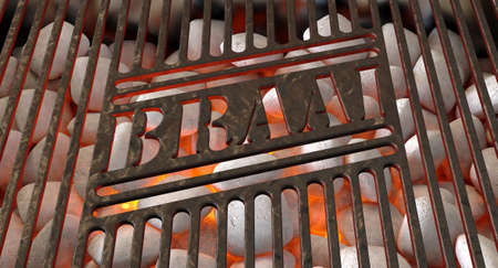 Burning hot coal and white ash in a barbecue stand covered by an iron grill with the word braai cut out of it - 3D render Stock Photo