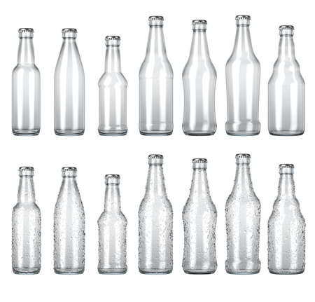 A range of various shaped clear glass beer bottles with droplets of condensation on an isolated white studio background - 3D render