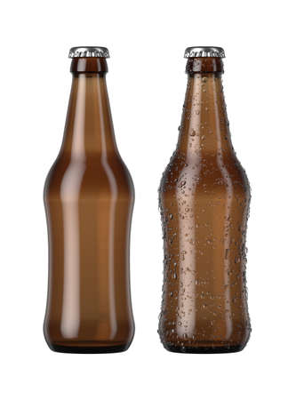 A plain amber glass beer bottle next to another with droplets of condensation on an isolated white studio background - 3D render