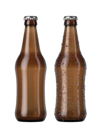 Una simple botella de cerveza de vidrio ámbar junto a otra con gotas de condensación sobre un fondo de estudio blanco aislado - 3D Render