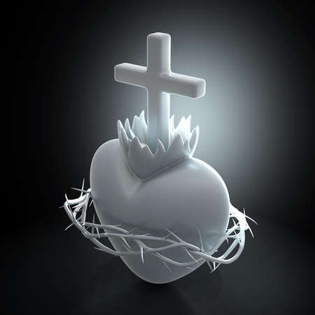 A dramatically backlit marble sculture of the sacred heart of jesus on a dark background - 3D render