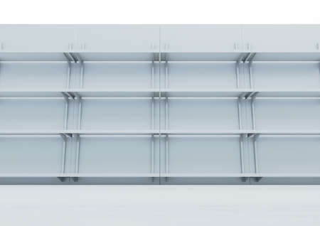 A front view of a facade of empty supermarket shelves - 3D render