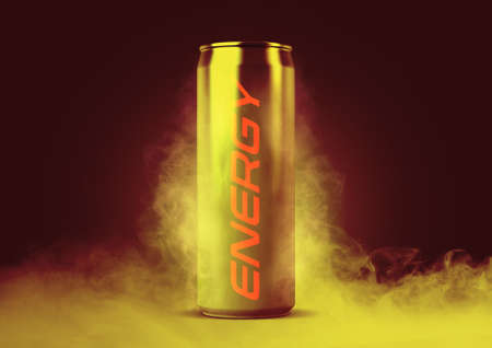 A frosted smoking regular aluminum energy drink shaped tin can with the word energy written on it on an isolated white studio background - 3D render