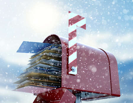 A christmas concept depicting a red retro mailbox belonging to santa clause crammed full of childrens wish list letters to him on a snowy cold background - 3D render Stockfoto