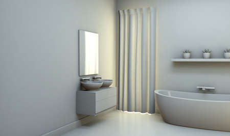 A desaturated interior of a bathroom with light walls a modern bath tub and reflective floors - 3D render Imagens