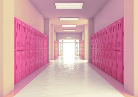 A look down a well lit hallway of bright pink school lockers towards an open entrance or exit door - 3D render
