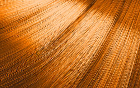 A closeup view of a bunch of shiny straight ginger hair in a wavy curved style - 3D render