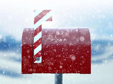 Un concetto di natale raffigurante una cassetta postale retrò rossa chiusa appartenente a Babbo Natale con una bandiera di bastoncino di zucchero a strisce su uno sfondo freddo innevato - 3D render Archivio Fotografico