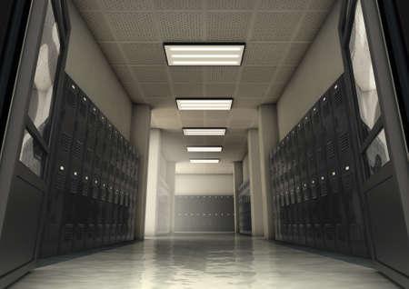 Ein Blick in einen schwach beleuchteten Flur mit Schulschließfächern - 3D-Rendering Standard-Bild