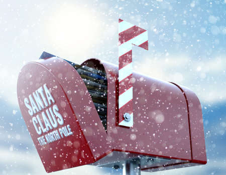 A christmas concept depicting a red retro mailbox belonging to santa clause crammed full of childrens wish list letters to him on a snowy cold background - 3D render Stock Photo