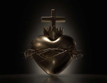 Una fusione d'oro drammaticamente retroilluminata del sacro cuore di Gesù su uno sfondo scuro - rendering 3D Archivio Fotografico