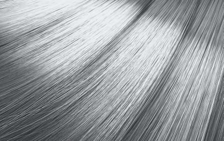 A closeup view of a bunch of shiny straight silver grey hair in a wavy curved style - 3D render