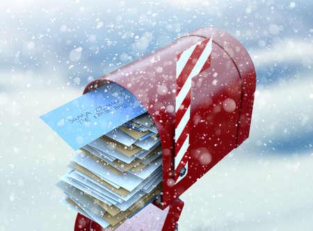 Un concetto di natale raffigurante una cassetta postale retrò rossa appartenente a Babbo Natale piena zeppa di lettere della lista dei desideri per bambini a lui su uno sfondo freddo innevato - 3D render