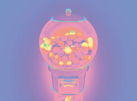A vintage gumball dispensing machine filled with multicolored gumballs in a pastel pink and purple tones - 3D render
