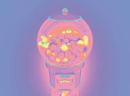 Eine Vintage-Kaugummiball-Ausgabemaschine gefüllt mit bunten Kaugummikugeln in Pastellrosa- und Violetttönen - 3D-Rendering Standard-Bild