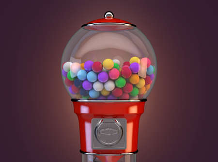 A red vintage gumball dispensing machine filled with multicolored gumballs on an isolated white background - 3D render