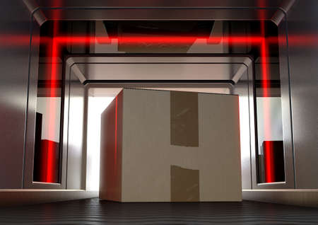 A cardboard box being examined by red lights while going through a baggage scanner on an isolated background - 3D render