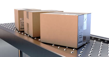 A regular roller ball conveyor system transporting good packaged in generically tracked cardboard boxes on an isolated white studio background - 3D render