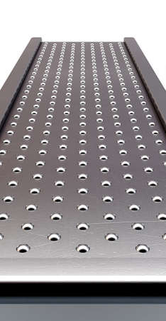 A regular roller ball conveyor system on an isolated white studio background - 3D render