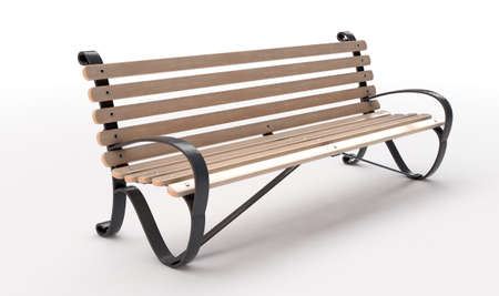 An empty slatted wood and iron public park bench on an isolated white studio background - 3D render