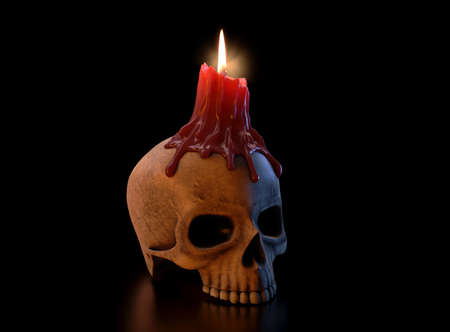 A concept showing a human skull topped with a melting red lit candle on an isolated dark studio background