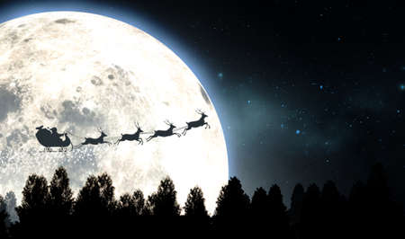 Santas sleigh silhouetted against the backdrop of a full moon and night sky flying above a forest of pine trees - 3D render 스톡 콘텐츠