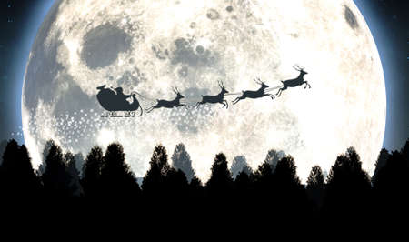 Santas sleigh silhouetted against the backdrop of a full moon and night sky flying above a forest of pine trees - 3D render