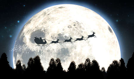 Santas sleigh silhouetted against the backdrop of a full moon and night sky flying above a forest of pine trees - 3D render 写真素材