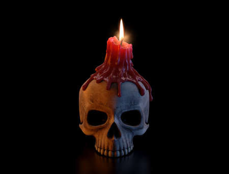 A concept showing a human skull topped with a melting red lit candle on an isolated dark studio background - 3D render