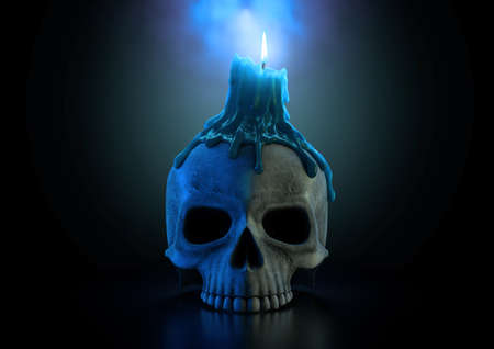 A macabre concept showing a human skull topped with a melting candle with a blue flame on an isolated dark studio background - 3D render Stock Photo