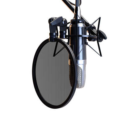 A professional condenser microphone assempled with a filter and stand on an isolated white background - 3D render