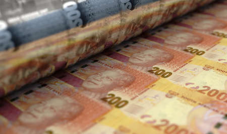 A concept image showing a sheet of South African Rand banknotes going through a roller in its final phase of a print run - 3D render