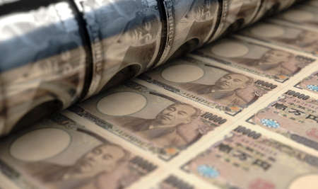 A concept image showing a sheet of Japanese Yen notes going through a print roller in its final phase of a print run - 3D render Reklamní fotografie